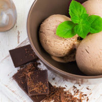 Chocolate ice cream with mint leaf in brown bowl.