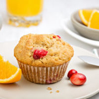 Freshly baked cranberry orange muffin on a plate for breakfast