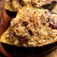 Roasted Acorn Squash Stuffed With Rice and Sausage